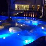 Inviting pool at night