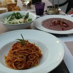 Spaghetti Bolognese, Risotto with red wine and cheese, and rocket and parmesan salad. Heaven!!