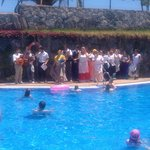 The hotel staff including all the maids dressed up and singing round the pool FANTASTIC