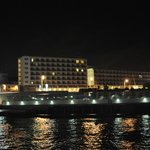 The Hotel, photographed from the Marina, at night
