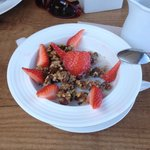 Raw granola with almond milk at Passion Cafe