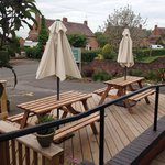 The front outside decking seating area