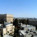 View from the Carmel Lounge (King David Hotel/Street on left & Mt. of Olives in background)