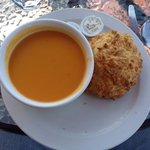 Carrot and ginger soup with a cheese scone ... yum!