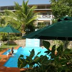 Pool with hotel