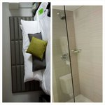 (Forgive the angles)  The picture on the right is the shower with it's half-glass partition.