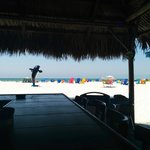 The view from you seat in Rick's Reef Beachside thatched roof tiki bar.
