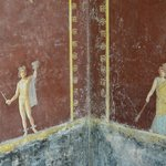 beautiful frescos in the villas outside Pompeii