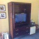 TV, microwave, refrigerator set up