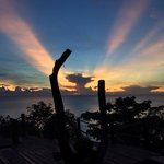 amazing sunrise at hide on high bar. than sadet koh phangan thailand.