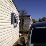 Row of mobile homes v close together