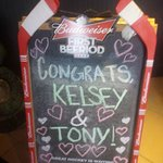 They decorated their chalkboard sign to congratulate us as we walked in to the dining room!