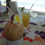 Cold fresh coconut and tropical juice