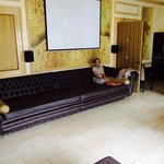 18ft settee in the living room with projector