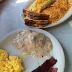 Biscuits and Gravy & Ham and Cheese Omelette