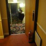 DC door held open with fire extinguisher