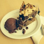 Fabulous home made coffee and walnut cake with a scoop of delicious chocolate brownie ice cream!