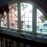 Stained glass window upstairs