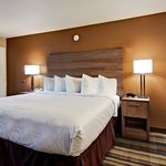 Deluxe King guest room at Boulder University Inn offers updated amenities.