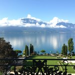the view of Lake Geneva from our balcony