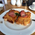 Welsh rabbit breakfast with bacon