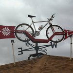 Look for the bike weather vane on the motel roof