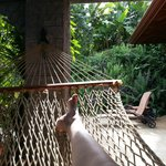 The hammocks outside our room