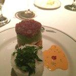 Tuna tartar tower that has fresh jumbo lump crab on the bottom layer.  Delish!