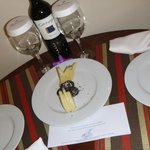 left cheese and wine in our room as a surprise after a day at the beach!