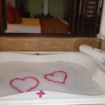 our butler prepared a champagne bath for us to return to after a day at the beach