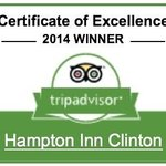 Certificate of Excellence 2014 WINNER  Hampton Inn Clinton