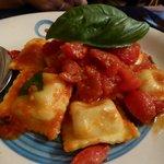 Crab ravioli with pomodoro sauce