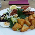 Delicious, Fresh Salmon Fillets with Caesar Salad & Potatoes