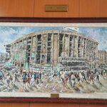 A painting of the Nou Camp in the reception area.