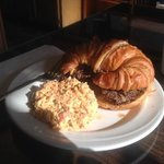 roast beef and cheddar croissant with pasta salad