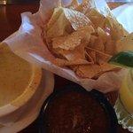 Quest, chips, salsa, frozen margarita