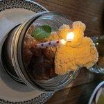 pomegranate curd birthday dessert