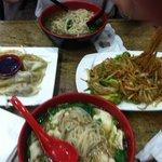 Curry dumpling, chicken soup, duck soup and veggie stir fry.