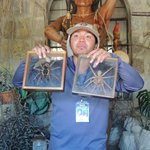 Our guide showing two common spiders of the Amazon