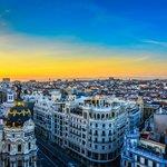 Sunset over Madrid viewed Bellas Artes Tower - Madrid Spain