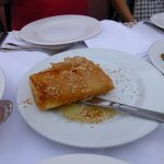 Cheese in phyllo with honey and sesame seeds