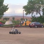 Tent sites at the RV park.  Yes, that's a Mars rover.