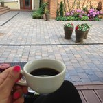 my morning coffee in the garden