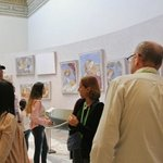 our guide and small group looking at frescos
