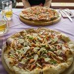 Pizza for lunch (bottom juzza special, top quattro)