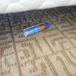 previous guests left over bottle of sunblock under the bed.