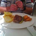 Steak, tempura veg and wonderful `chips`