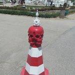 Permanent road cone at entrance