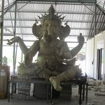 A statue of Ganesh being constructed