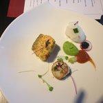 Salmon, scallop and caviar